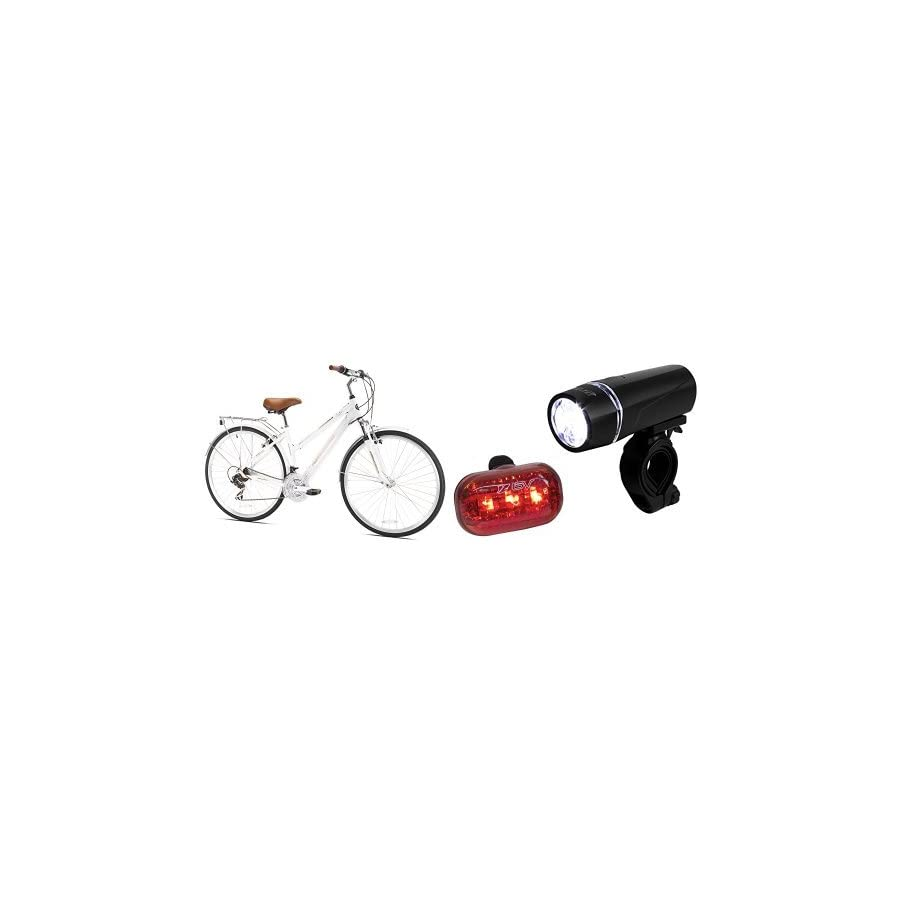 Northwoods Springdale Women's 21 Speed Hybrid Bicycle, 700c and BV Bicycle Light Set Super Bright 5 LED Headlight, 3 LED Taillight, Quick Release Bundle