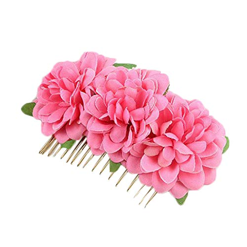 (DEATU Headdress Bride Hairpin Hairpin Comb Red Double Flannel Curling Rose Hair Comb Wedding Accessories Fascinators)