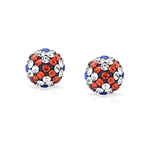 Bling Jewelry Shamballa Inspired British Flag Union Jack Crystal Stud Earrings Silver Plated