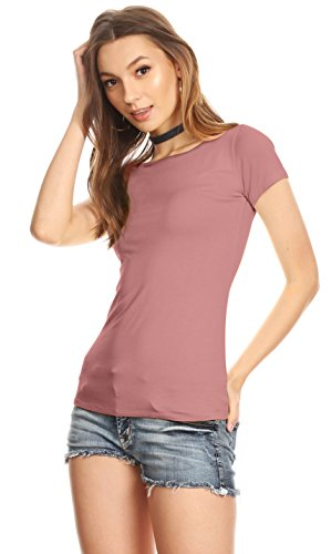 Womens Plain Tee Shirt Slim Fit Short Sleeve Casual Basic Top - Made in USA Rose XX-Large US (Usa Roses)