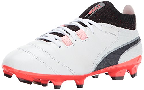 PUMA Unisex-Kids One 17.1 FG Jr Soccer-Shoes, Puma White-Puma Black-Fiery Coral, 6 M US Big Kid by PUMA