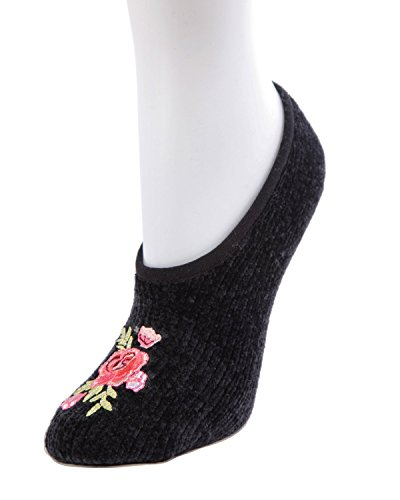 Floral Spring Embroidered Chenille Slipper,Mwf-000086 Black,One Size -