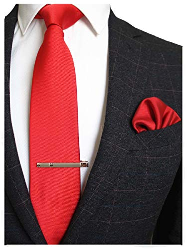 JEMYGINS Red Formal Necktie and Pocket Square, Hankerchief and Tie Bar Clip Sets for Men -