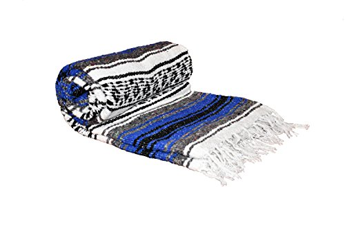 Stay Wild Apparel Authentic Mexican Falsa Blanket- Vintage Style, Vibrant Colors, Yoga Blanket, Imported from Mexico (Royal (Vibrant Blue Apparel)