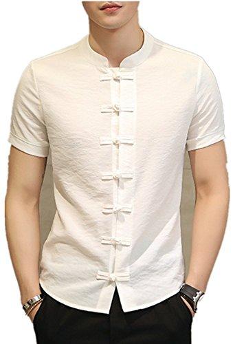 5b0ea57a3a109 Shu li Men s Chinese Style Windshield Collar Collar Casual Short-Sleeved  Shirt