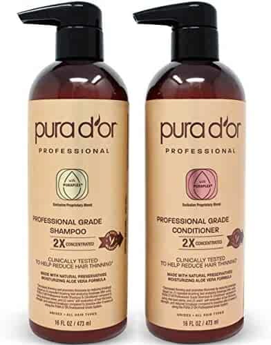 PURA D'OR Professional Grade Anti-Hair Thinning 2X Concentrated Actives Shampoo & Conditioner, Sulfate Free Natural Ingredients, Clinically Tested, All Hair Types, Men & Women (Packaging may vary)