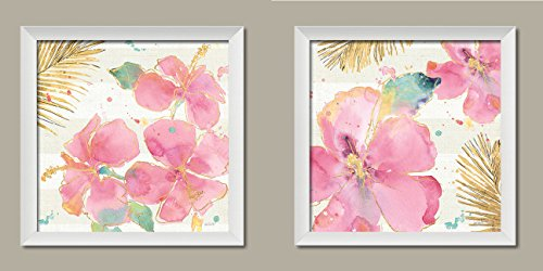 (Gango Home Décor Beautiful Blooming Tropical Hibiscus Floral Decor by Anne Tavoletti; Two 12x12in White Framed Prints, Ready to Hang!)