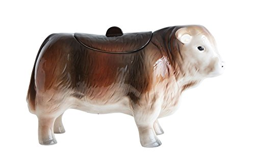 Vintage Cow Textured Chestnut 12.75 x 7 Dolomite Ceramic Decorative Cookie Jar (Jars Cow Cookie)