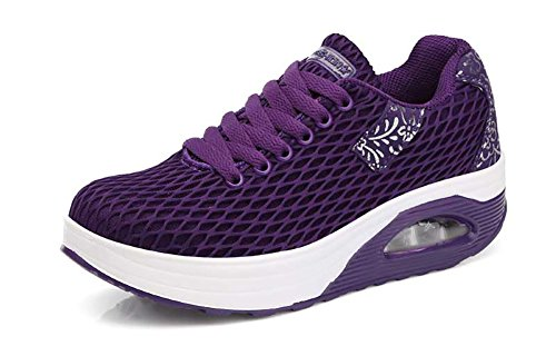 No.66 Town Women's Comfortable Platform Walking Sneakers Lightweight Casual Tennis Air Fitness Shoes Size 6 Purple by No.66 Town