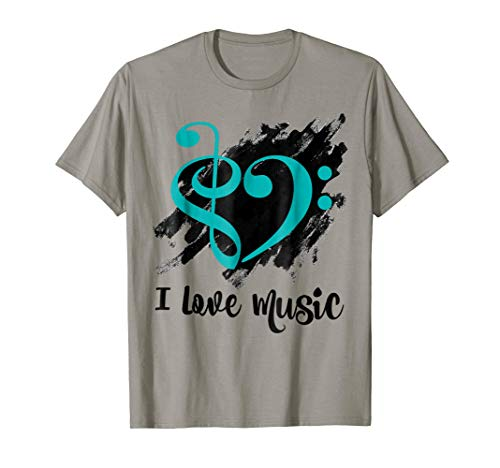 Treble Clef Bass Clef Turquoise Heart I Love Music Bassist T-Shirt