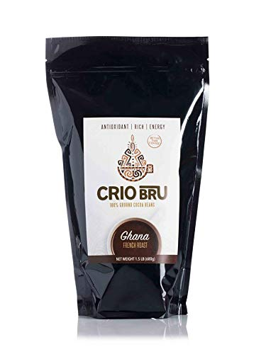 Crio Bru Ghana French Roast 24oz (1.5 lb) Bag | Natural Healthy Brewed Cacao Drink | Great Substitute to Herbal Tea and Coffee | 99% Caffeine Free Gluten Free Whole-30 Low Calorie Honest Energy