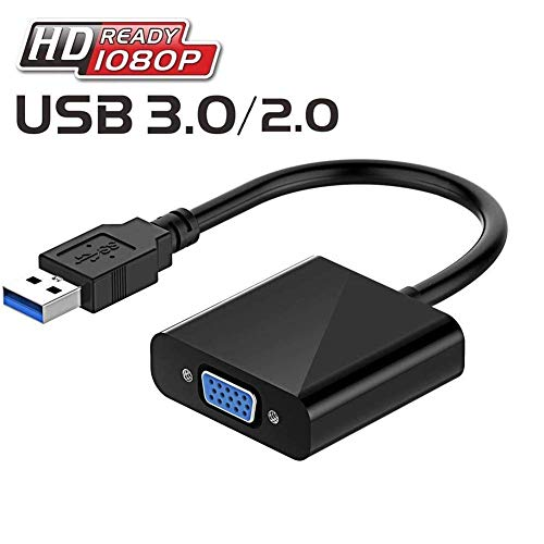 USB-3.0 to VGA Adapter, VGA to USB Video Cable Adapter for Monitor, Projector, HDTV; 1080 PC Multi-Display Video Converter (Windows 10 8 7)
