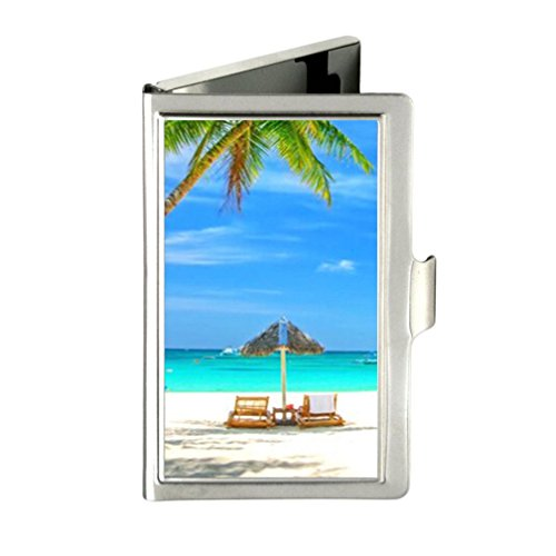 Theme Summer Beach Palm Tree Custom Design Unique Stainless Steel Business Card Holder Name Case