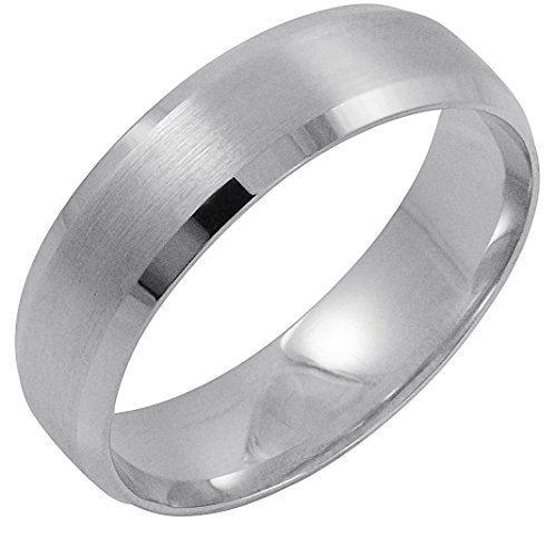 Men's 14K White Gold 6MM Comfort Beveled Edge Wedding Band (Available Ring Sizes 8-12 1/2) Size 12
