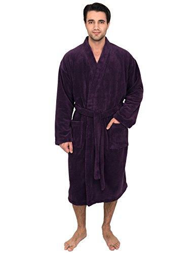 TowelSelections Super Soft Plush Kimono Bathrobe Fleece Spa Robe for Men Large/X-Large Wine Berry