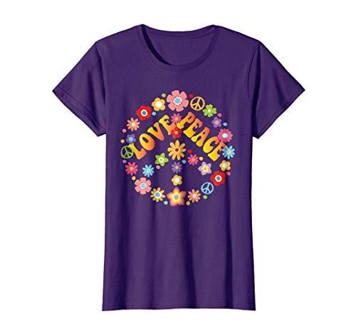 Womens PEACE SIGN LOVE T Shirt 60s 70s Tie Die Hippie Costume Shirt Small Purple