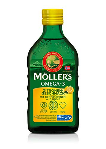 Möller's Omega 3 Lebertran Öl | Nordic Omega 3 6 9 Nahrungsergänzung mit EPA, DHA, Vitamin A, D, E | Superior Taste Award | Hochreiner natürlicher Lebertran | 165 Jahre alte Marke | Zitrone | 250 ML