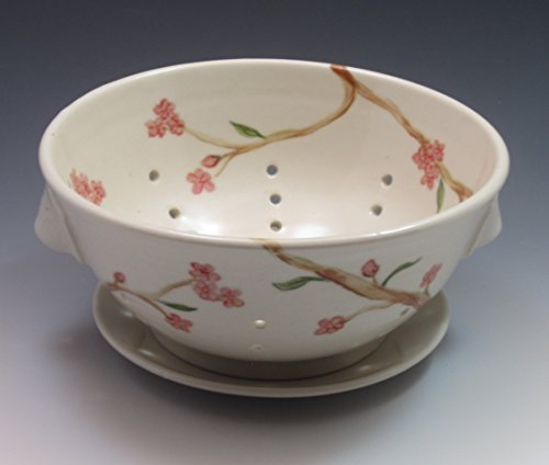 Cherry Design Colander - Porcelain Berry Bowl/Colander with saucer, hand thrown and hand painted in cherry blossom design