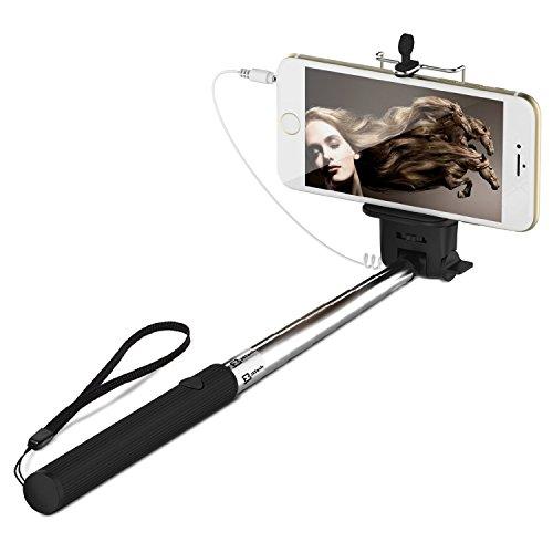Selfie Stange, JETech Batterielos Selfie Stange Stick Stab Monopod Erweiterbare Drahtlose Kabelsteuerung (Nein Batterie Nein Bluetooth) mit Halterung Halter für Apple iPhone 6/6 Plus/5/4, iPod, Samsung Galaxy S6/S5/S4/S3, Note 4/3/2 und die meisten anderen Smartphones - 2000