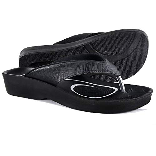 AEROTHOTIC Original Orthotic Comfort Thong Sandal and Flip Flops with Arch Support for Comfortable Walk (US Women 8, Matt Black)