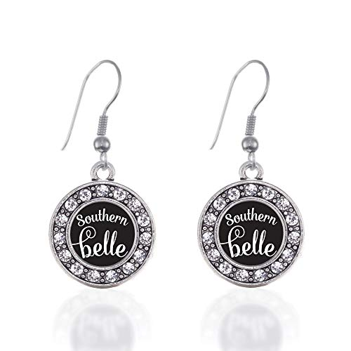 Inspired Silver - Southern Belle Charm Earrings for Women - Silver Circle Charm French Hook Drop Earrings with Cubic Zirconia Jewelry
