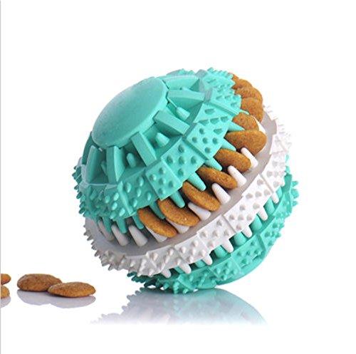 Rubber Ball Chew Treat Dispensing Holder Pet cog Puppy Cat Toy Training Dental (blue)