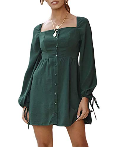 Moxeay Womens Vintage Long Sleeve Square Neck High Waist Button Down Mini Shirt Dress (S, Green) ()