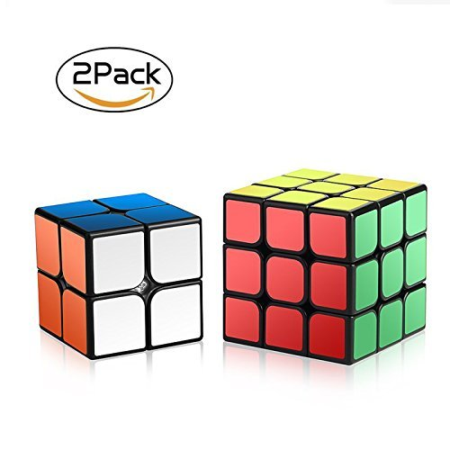 Speed Cube Set,Roxenda Magic Cube Set of 2x2x2 3x3x3 Cube Smooth Puzzle...