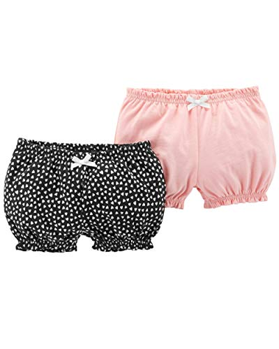 Carter's Baby Girls' 2-Pack Bubble Shorts (Pink/Black Hearts, 12 - Bubble Shorts
