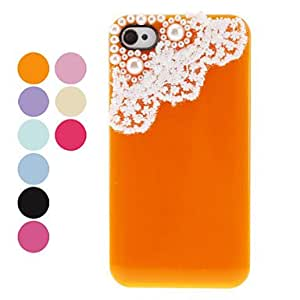 Protective Back Case with Pearl and Lace for iPhone 4/4S (Assorted Colors) --- COLOR:Orange
