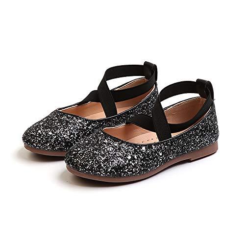 Bloossom Toddler Girl Sequins Fashion Baby Princess Dress Mary Jane Flat Shoes(Black-EU 31/13 M US Little -