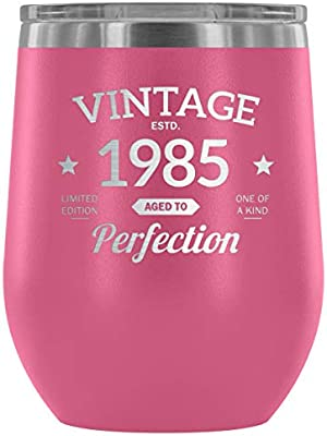 1985 33rd Birthday Gift Vintage Year For Women And Men 12 Oz Wine Tumbler Cup