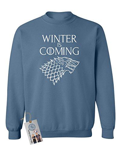 Games of Throne Winter is Coming Shirt Crewneck Sweatshirt Indigo Blue L