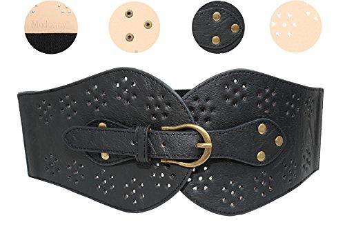 Modeway Womens Wide Leather Elastic Stretch Cinch Waist Belt(XL-XXL,Black)AQ01-3