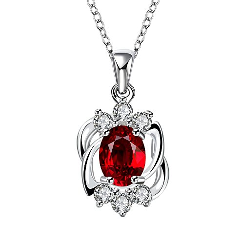 【Christmas Gift】Sterling Silver Plated Ruby Pendant Swarovski Elements Crystal Necklace for Women,18