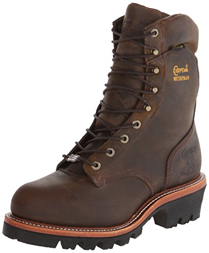 Chippewa Men's 9 Inch Bay Apache WP Steel Toe Super Logger Boot,Brown,11 E US