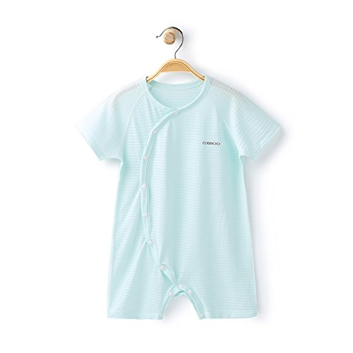 COBROO Unisex Baby Romper with Short Sleeves Side-Snap Solid Color Breathable Thin Summer Outfits Light Green for 12-24 Months ()