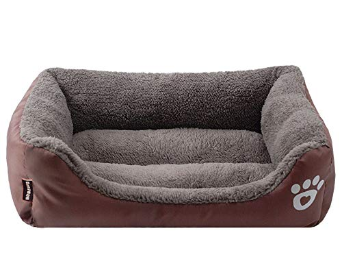 sevenTimes Large Dog Bed Padded Soft Pet Nest House Warm Indoor Dogs Sleeping Kennel Cushion for Cat Puppy,Coffee,68X55X16Cm ()