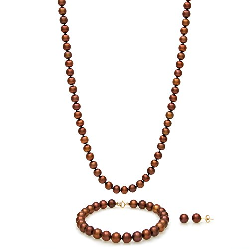 14k Yellow Gold 6.0-6.5mm Chocolate Cultured Freshwater Pearl Necklace Bracelet Stud Earring Set