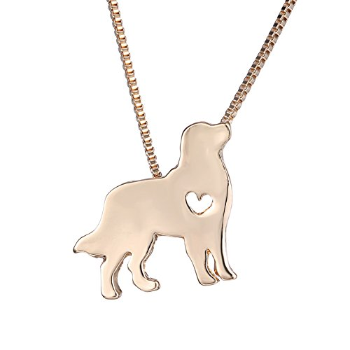 WeiVan Golden Retriever Necklace Gold Plated Dog Pendant with Box Chain