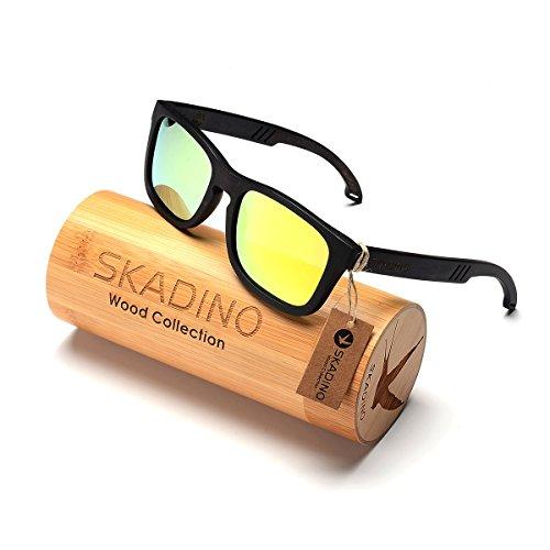 SKADINO Wood Sunglasse for Women&Men with Polarized lenses-Handmade Floating Wood Shades-Beech Wood with Yellow Mirror Lens - Polarized Sunglasse