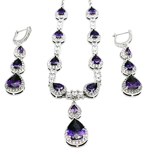 Hermosa Classic Fashion Jewelry Necklace Earrings Set Garnet Amethyst Morganite Topaz Plated Silver (Amethyst) (Jewelry Garnet Amethyst Set)