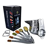 Stainless Steel Measuring Cups and Spoons Set of 13 by Elated Home; Dual Spout Liquid or Dry Measuring Cup Set: 7 Nesting Measuring Cups and 6 Stackable Measuring Spoons