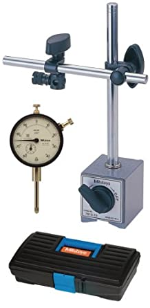 "Mitutoyo 64PKA075 Tool Kit, 0-1"" Range Dial Indicator, Magnetic Base, Plastic Case"