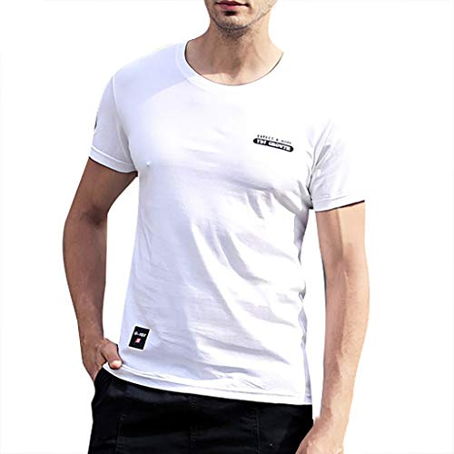 Mens Casual Fashion Letter Printing Shirt Short Sleeve T-Shirt Blouse Tops White