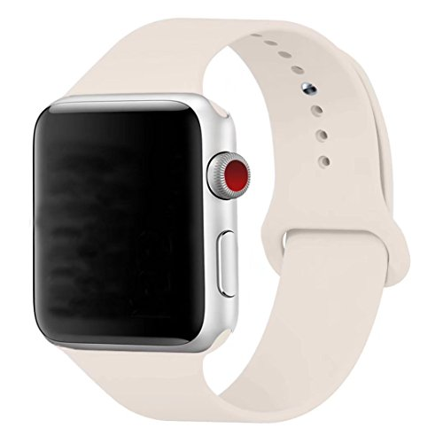 Antique Apple - MOTEEV Band for 42mm Apple Watch,Soft Silicone Sport Band [3 Pieces for 2 Lengths] Large/Small Wrist Strap Replacement for Apple Watch 1 2 3 All Models 42mm - Antique White
