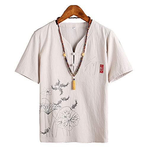 NREALY Camisa Mens Fashion Autumn Winter Button Casual Linen and Cotton Short Sleeve Blouse