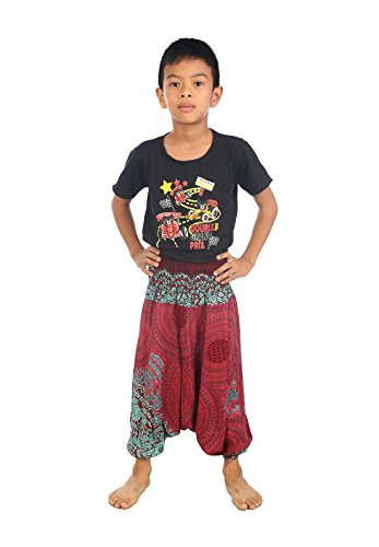 Lofbaz Baby Infant Harem Rose Flower Child Aladdin Pants Boho Hippy Burgundy Size 18M ()