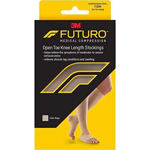 Socks Anti Compression Embolism (Futuro Therapeutic Knee Length Stockings for Men/Women, Firm Compression, Open Toe, Small, Beige)