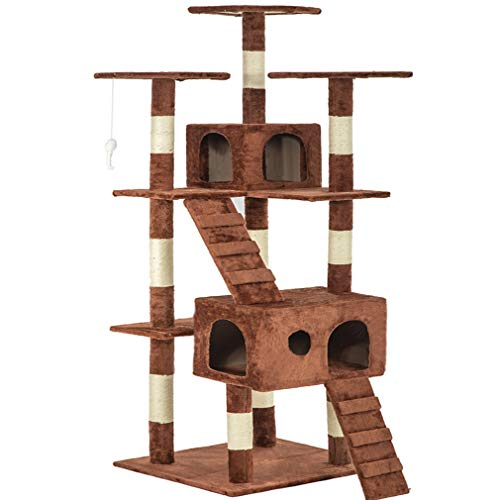 Brown 73 Cat Tree Scratcher Play House Condo Furniture Bed Post Pet House